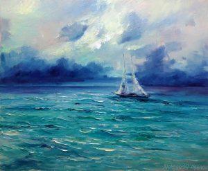Морски пейзаж с ветроходна лодка от Александър Асенов