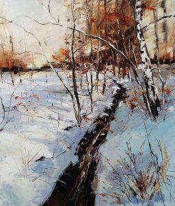 """Зимен пейзаж - """"В гората"""" от Александър Асенов"""