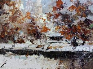 Зимен пейзаж с река от Александър Асенов