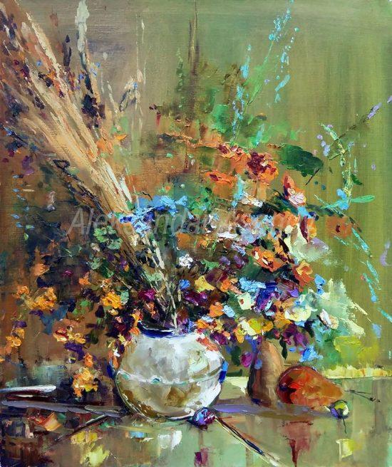 Натюрморт с полски цветя - 12 N