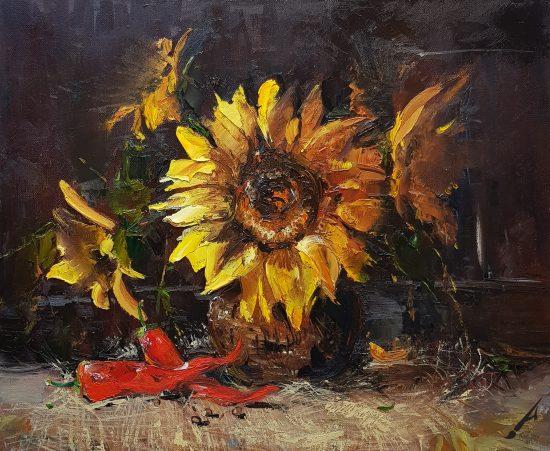 Натюрморт със слънчогледи и люти чушки
